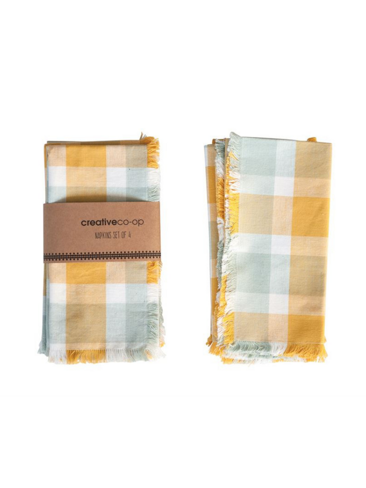 Cotton Plaid Napkins- Set of 4