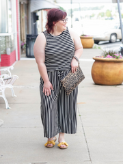 The Gentry Jumpsuit- Black & White Stripe