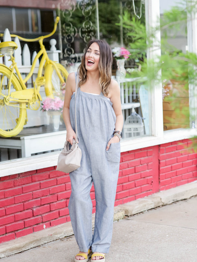 Lets Talk Business Jumpsuit-Grey