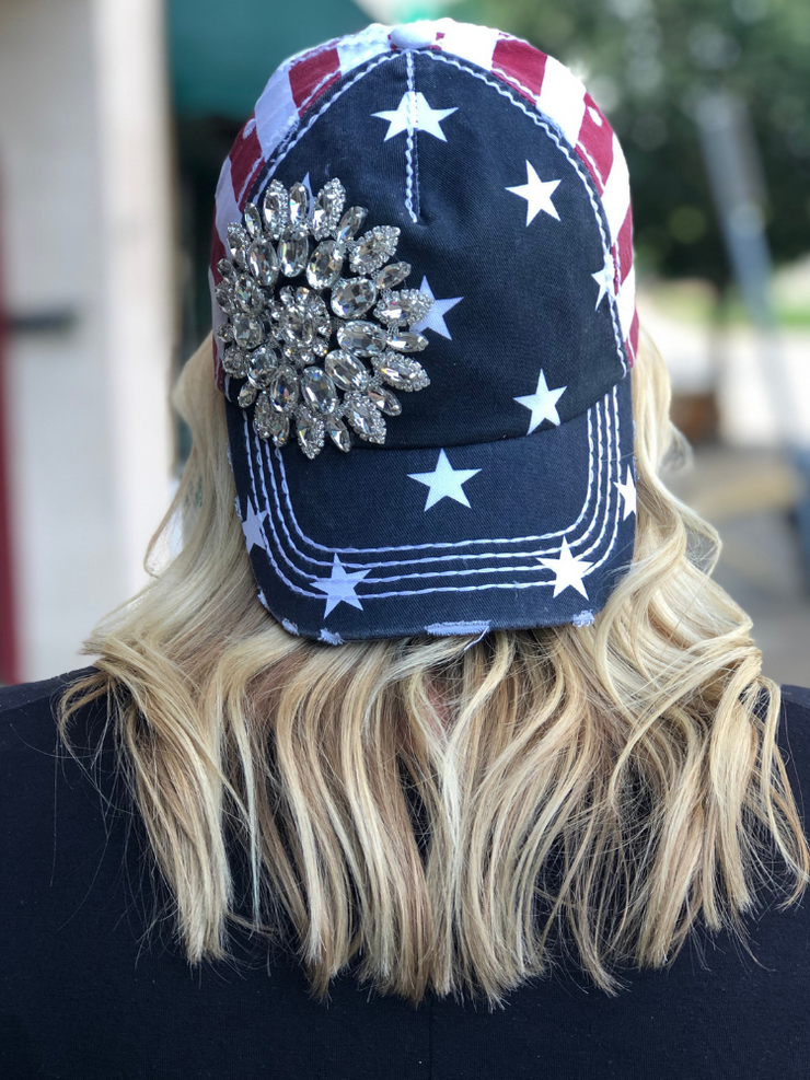Flag Hat-Flower Rhinestones