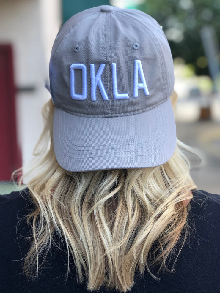 OKLA Ball Cap- Light Grey/White