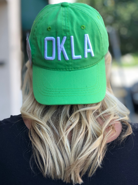 OKLA Ball Cap- Lime Green/White