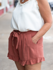 The Cara Linen Ruffle Shorts in Terracotta