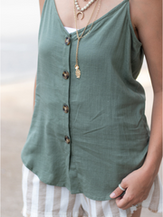 The Naomi Linen Cami- Olive