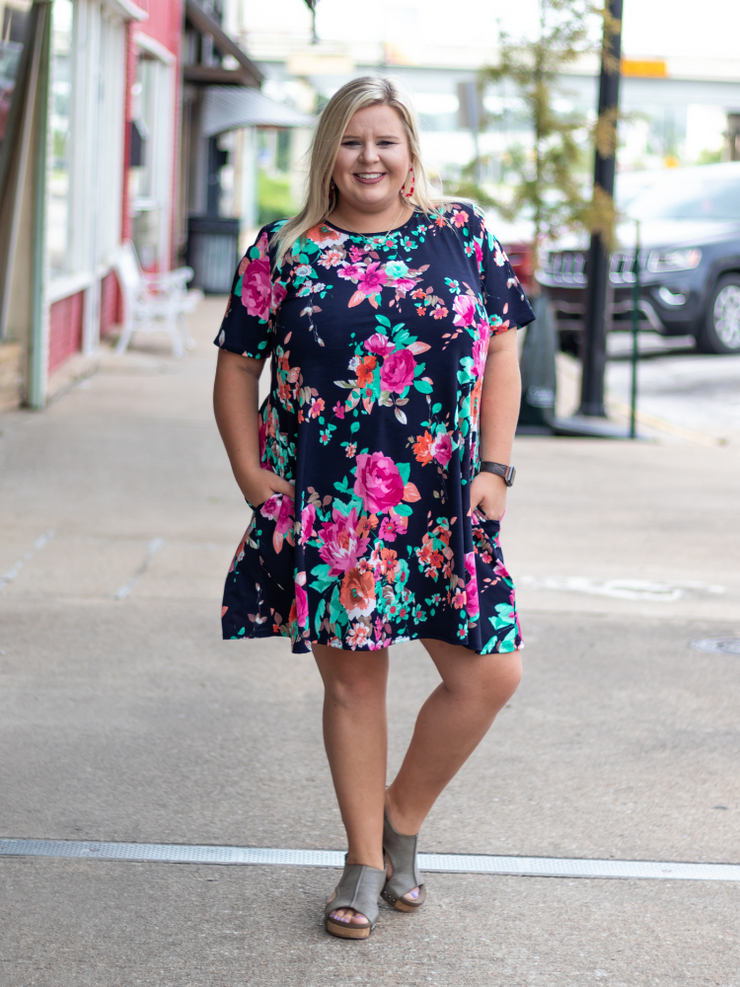 The Keeley Swing Floral Dress- Navy