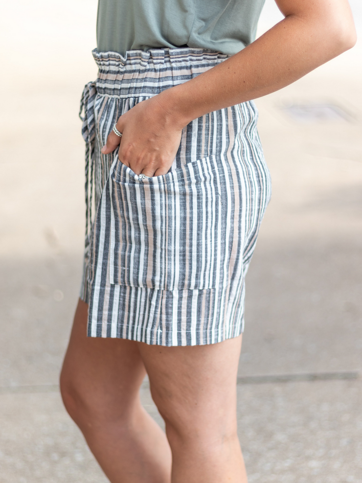 The Caroline Striped Shorts in Sand