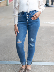 The Annie High Waist Button Fly Skinny