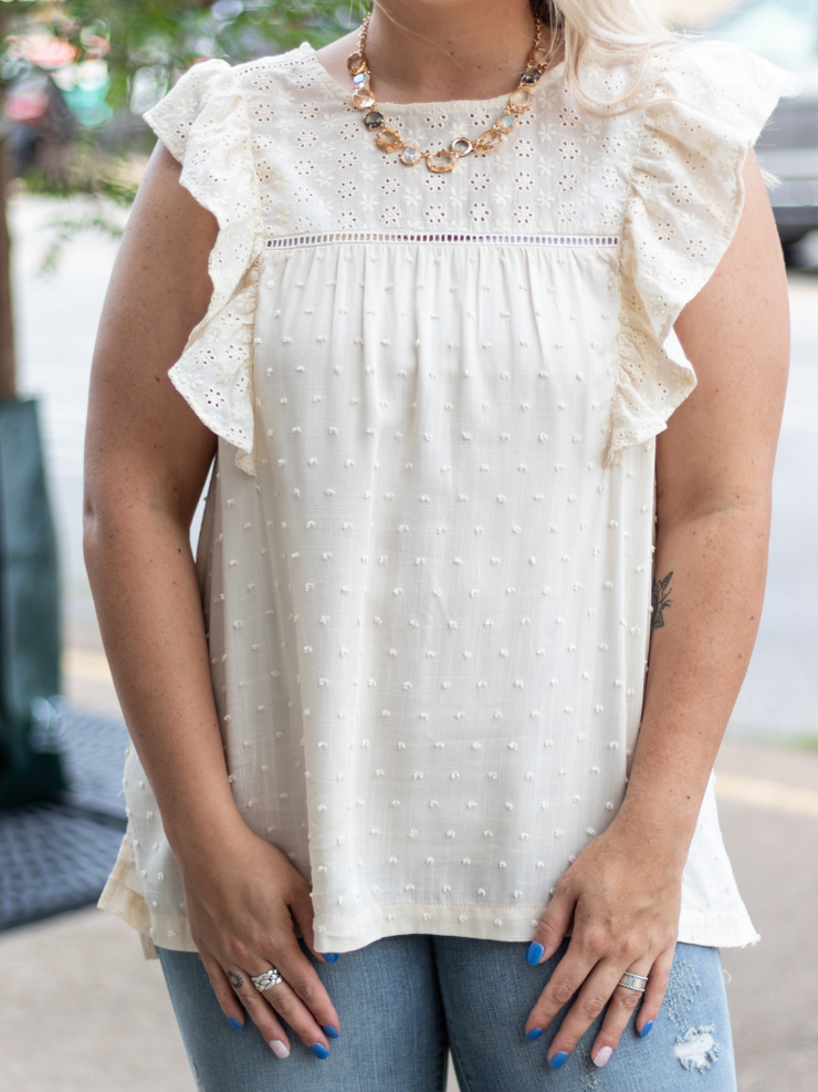 Beach Romance Lace Top in Ivory