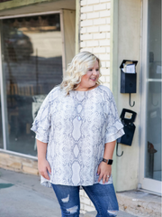 Mariah Ruffle Sleeve Top in Snake