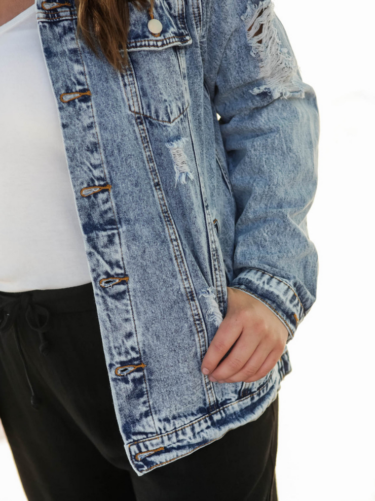 Kendl Distressed Denim Jacket