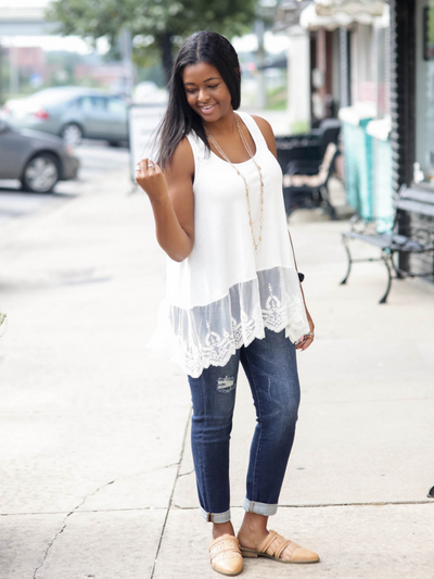 Swooning Into Fall Tank in White