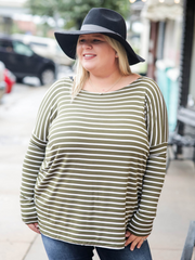Piko Long Sleeve Top, Olive and White Stripe