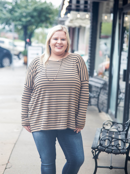 Piko Long Sleeve Top, Camel & Black Stripe