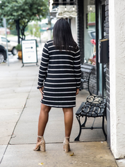 The Heather Striped Dress in Black