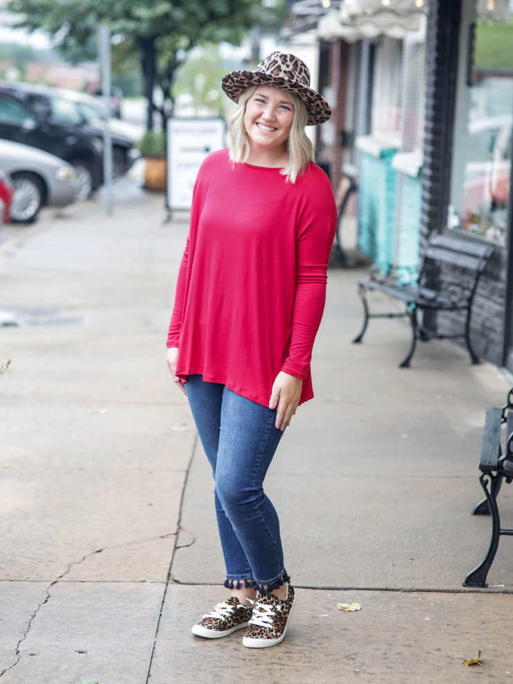 Boyfriend Round Neck Piko Style Long Sleeve - Red