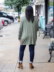 Piko Long Sleeve Top-V-Neck- Olive