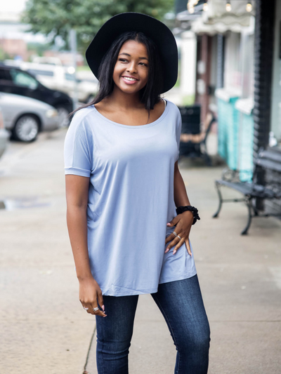 Piko Short Sleeve Top - Slate Blue