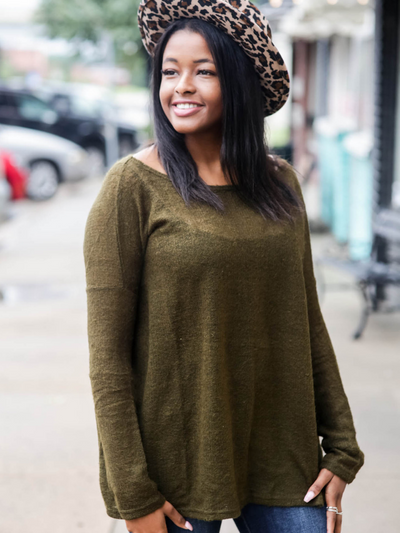 Cozy Mornings Piko Sweater, Olive