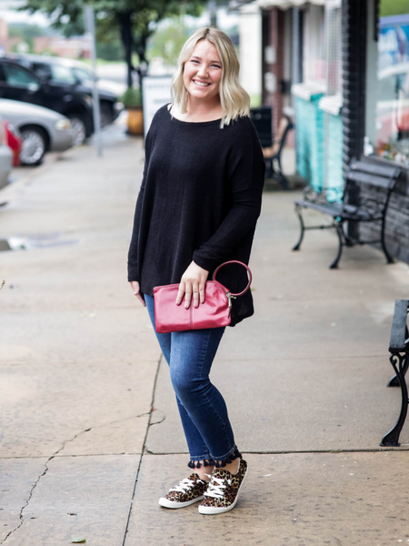 Cozy Mornings Piko Sweater, Black