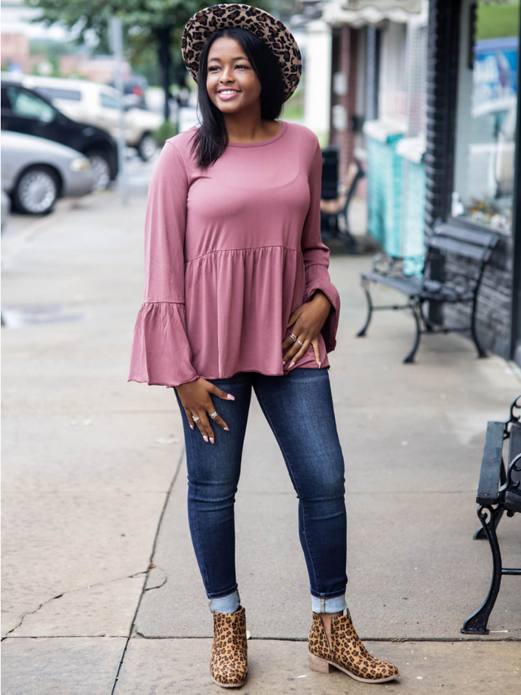 Piko Peplum Top, Rose