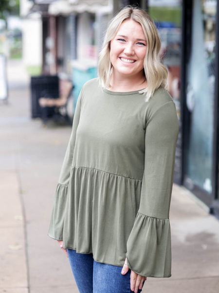 Piko Peplum Top, Washed Olive