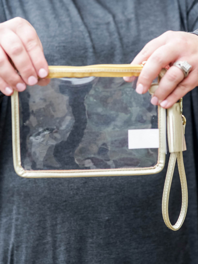 "The ""Clearly Chic"" Wristlet, Gold"