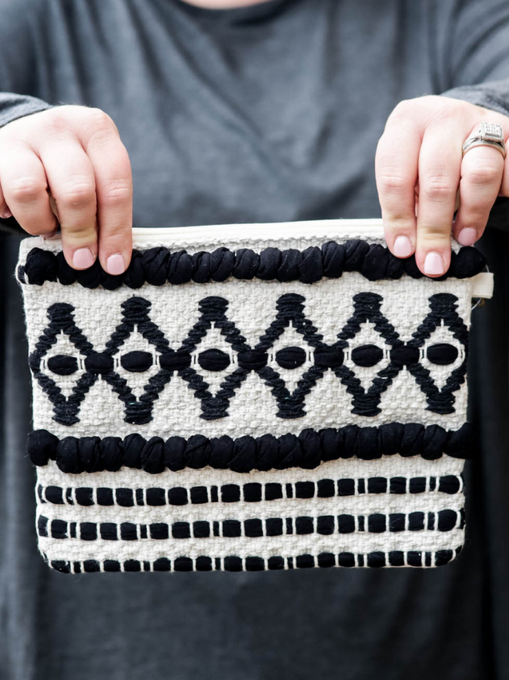 The Pippa Clutch in Black & Ivory