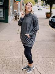 The Nola Cowl Neck Tunic- Grey