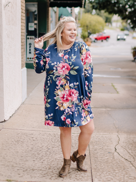 The Annalee Floral Dress- Navy