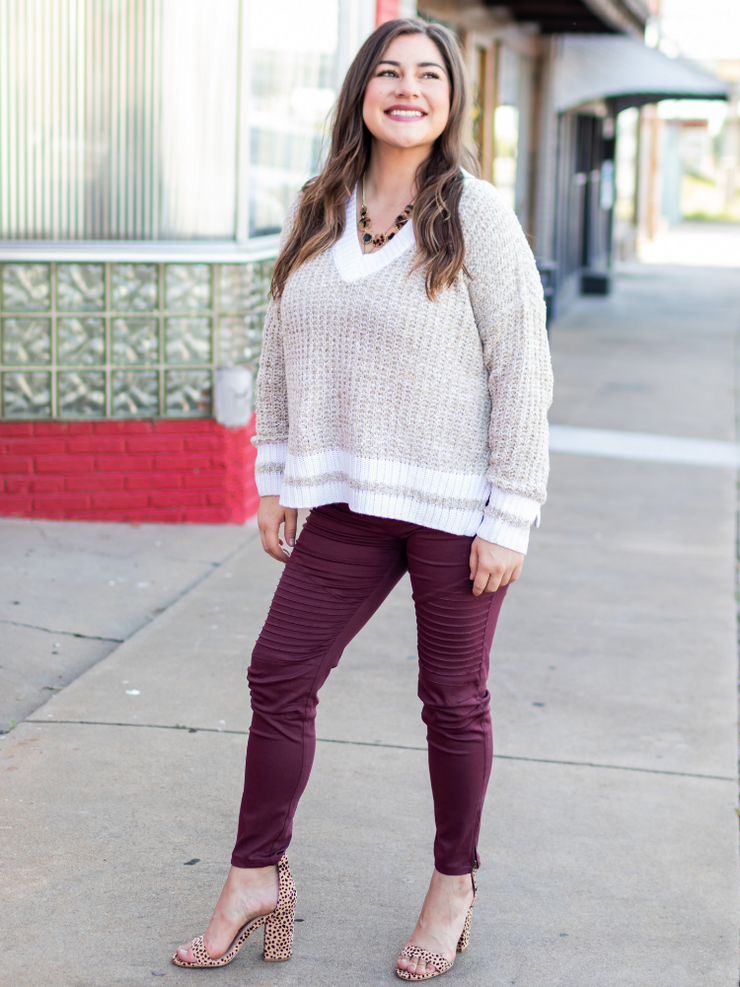 The Jessie Pearl Sweater- Oatmeal