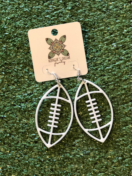 GAME DAY: Football Earrings- White
