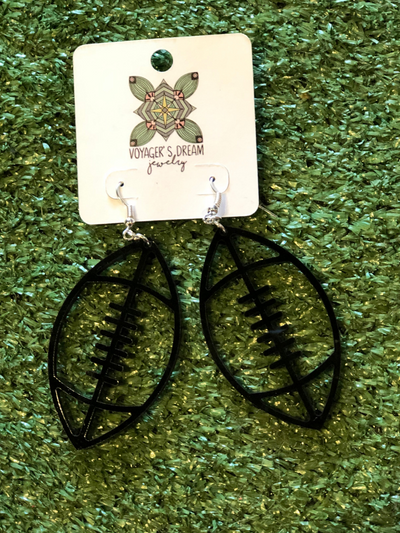 GAME DAY: Football Earrings- Black