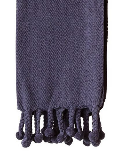 Cotton Throw w/ Pom Pom, Navy