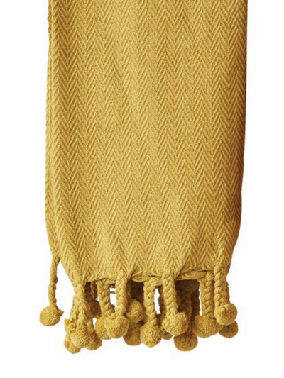 Cotton Throw w/Pom Pom in Mustard