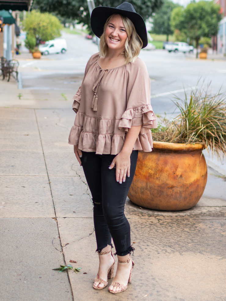 The Abigail Ruffled Top- Taupe