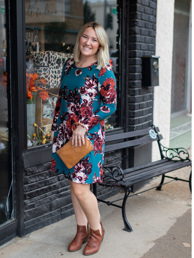 The Krista Floral Dress- Teal