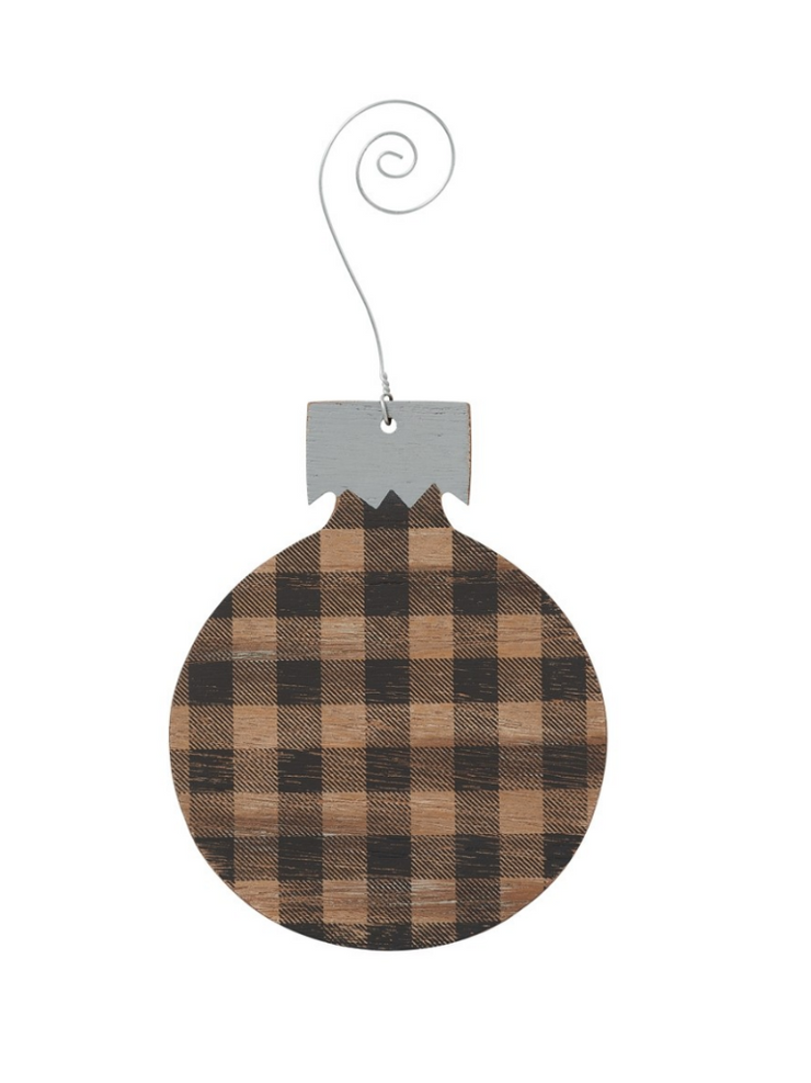 Buffalo Check Bulb Ornament- Black