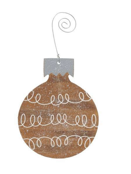 Loops Bulb Ornament- Wood