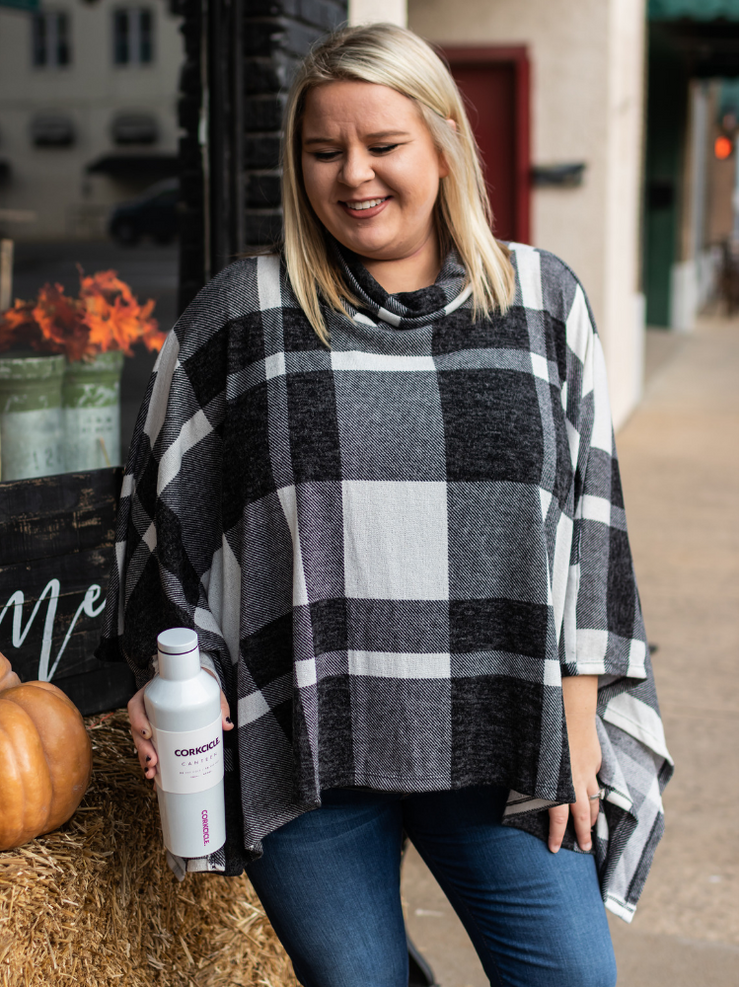 Fall Farmers Market Poncho- Black