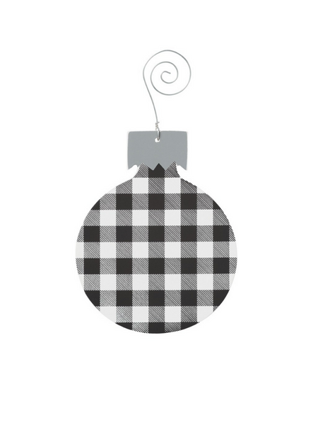 Buffalo Check Bulb Ornament- Black & White