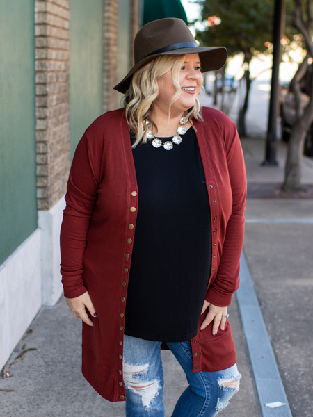 The Candice Cardigan In Brick