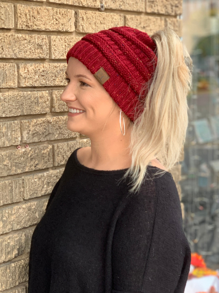 CC Speckled Pony Beanie- Burgundy
