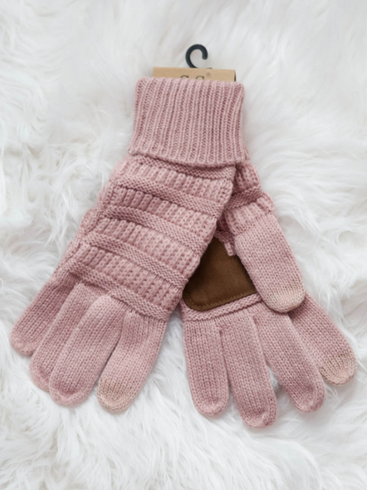 CC Beanie Cable Knit Gloves- Indi Pink