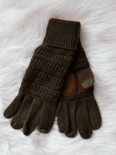 CC Beanie Cable Knit Gloves- New Olive