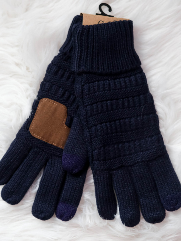 CC Beanie Cable Knit Gloves- Navy