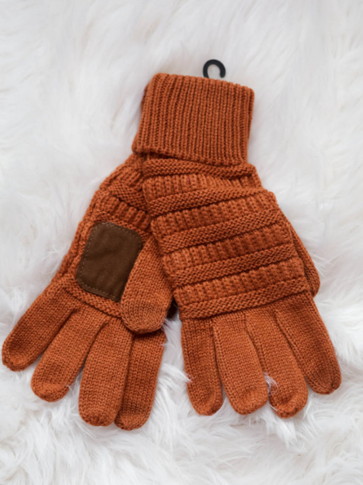 CC Beanie Cable Knit Gloves- Rust
