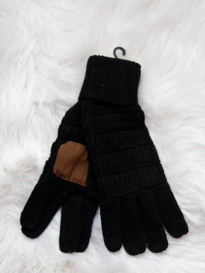 CC Beanie Cable Knit Gloves- Black