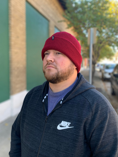 Mens CC Ribbed Beanie - Burgundy