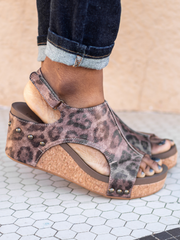 Carley Leopard Distressed Wedge