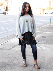 Cool Weather Crush Sweater- Heather Grey